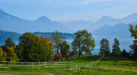 Rural scenery at summer day in Luzern, Switzerland. Luzern is home to many peaceful countryside scenes. 版權商用圖片 - 122891695