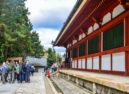 Nara, Japan - Apr 10, 2019. People visit the Todaiji Temple in Nara, Japan. Todai-ji is Nara most popular tourist attraction and a UNESCO Heritage Site.