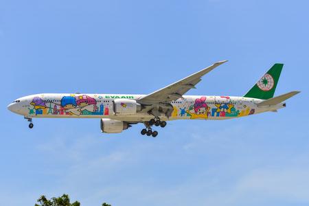 Singapore - Mar 27, 2019. B-16722 EVA Airways Boeing 777-300ER (Hello Kitty Shining Star) landing at Changi Airport (SIN).