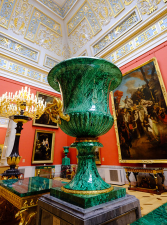 St. Petersburg, Russia - Oct 13, 2016. Interior of Hermitage Museum. It was founded in 1764, is the second-largest art museum in the world.