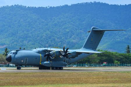 Langkawi, Malaysia - Mar 30, 2019. An Airbus A400M Atlas aircraft of Royal Malaysian Air Force (M54-04) taxiing on the runway of Langkawi Airport (LGK).