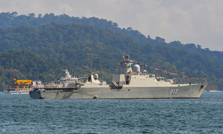 Langkawi, Malaysia - Mar 30, 2019. Vietnam Navy Frigate Ly Thai To (HQ-012) waiting for display on Langkawi Island, Malaysia.