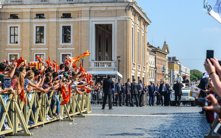 Vatican - Oct 14, 2018. Pope Francis I on the popemobile blesses the faithful crowd in St. Peter Square in Vatican. Redakční