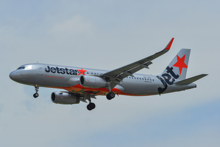 Singapore - Mar 27, 2019. 9V-JSS Jetstar Asia Airbus A320 landing at Changi Airport (SIN). Changi is currently rated the World Best Airport by Skytrax (2018).