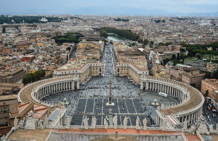 Vatican - Oct 14, 2018. Aerial view of the Saint Peter Square of Vatican City. View from top of the Saint Peter Basilica.