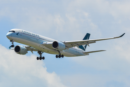 Singapore - Mar 27, 2019. B-LRJ Cathay Pacific Airbus A350-900 landing at Changi Airport (SIN). Changi is currently rated the World Best Airport by Skytrax (2018).