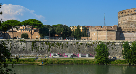 Vatican - Oct 14, 2018. Castel Sant Angelo with Tiber River. The building was later used by the Popes as a fortress and castle, and is now a museum.