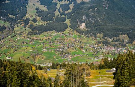 Grindelwald, Switzerland - Oct 20, 2018. Mountain town in Grindelwald, Switzerland. Grindelwald was one of the first tourist resorts in Europe.