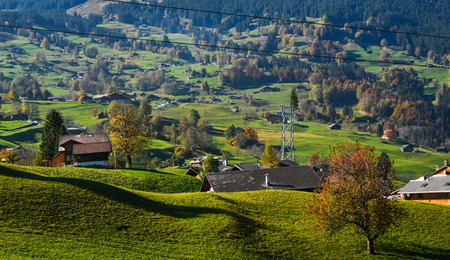Mountain town in Grindelwald, Switzerland. Grindelwald was one of the first tourist resorts in Europe.