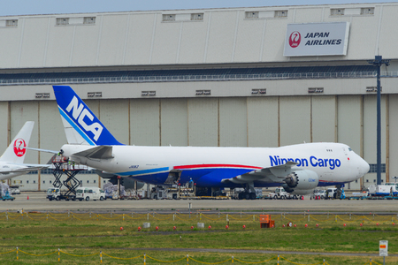 Tokyo, Japan - Apr 17, 2019. Nippon Cargo Airlines JA11KZ Boeing 747-8F docking at Narita Airport (NRT). Narita is one of the main international hubs in Japan. Editorial