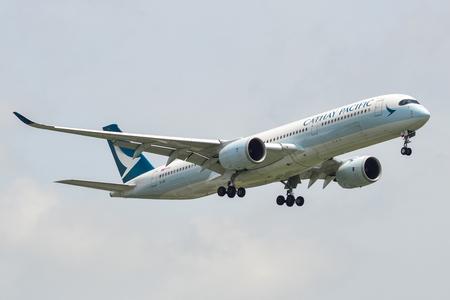 Bangkok, Thailand - Sep 17, 2018. B-LRR Cathay Pacific Airbus A350-900 landing at Bangkok Suvarnabhumi International Airport (BKK).