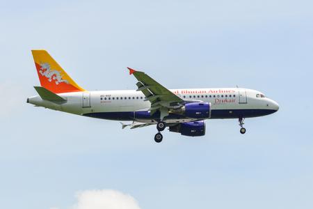 Bangkok, Thailand - Sep 17, 2018. A5-RGF Druk Air (Royal Bhutan) Airbus A319 landing at Bangkok Suvarnabhumi International Airport (BKK).