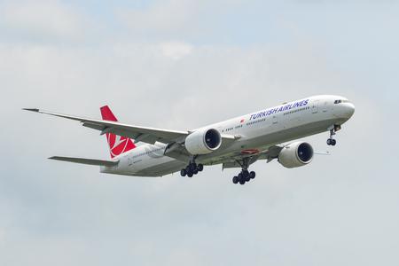 Bangkok, Thailand - Sep 17, 2018. TC-LJE Turkish Airlines Boeing 777-300ER landing at Bangkok Suvarnabhumi International Airport (BKK).