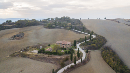 Aerial nature landscape beautiful hills of Tuscany, Italy.