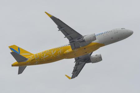 Tokyo, Japan - Apr 17, 2019. JA12VA Vanilla Air Airbus A320 taking-off from Narita Airport (NRT). Narita is one of the main international hubs in Japan.