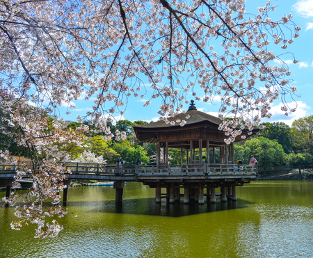 Nara, Japan - Apr 11, 2019. Sagi-ike Pond with the Ukimido Gazebo during cherry blossom in Nara Park (Japan). Stock Photo - 123263936