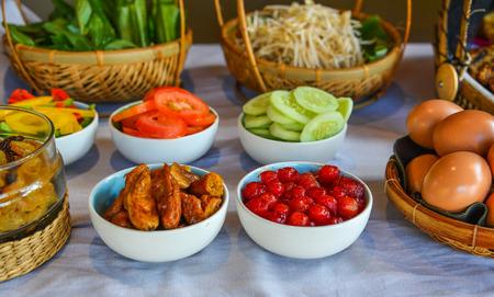 Breakfast buffet at luxury resort in Phan Thiet, Vietnam.