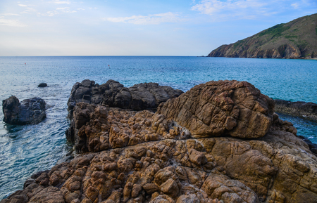 Seascape of Quy Nhon, Vietnam. In recent years, there has been a significant shift towards service industries and tourism in Quy Nhon.