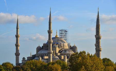 Istanbul, Türkei - 28.September 2018. Berühmte Blaue Moschee in Istanbul, Türkei. Die Blaue Moschee wurde zwischen 1609 und 1616 während der Herrschaft von Ahmed I. erbaut.