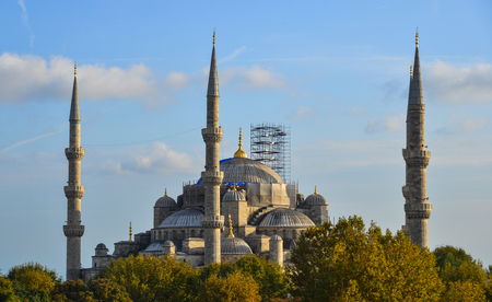 Istanbul, Turkey - Sep 28, 2018. Famous Blue Mosque in Istanbul, Turkey. The Blue Mosque was constructed between 1609 and 1616 during the rule of Ahmed I.
