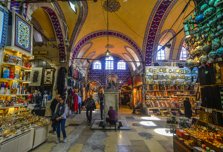 Istanbul, Turkey - Sep 28, 2018. Interior of Grand Bazaar in Istanbul, Turkey. The market is one of the largest and oldest covered markets in the world.