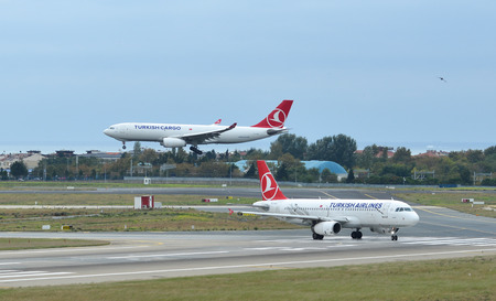 Istanbul, Turkey - Sep 30, 2018. Passenger airplanes of Turkish Airlines taxiing on runway of Istanbul Ataturk Airport (IST).