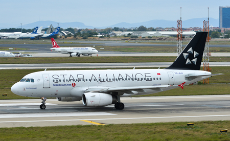 Istanbul, Turkey - Sep 30, 2018. TC-JLU Turkish Airlines Airbus A319 (Star Alliance Livery) taxiing on runway of Istanbul Ataturk Airport (IST).