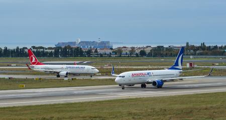 Istanbul, Turkey - Sep 30, 2018. TC-JFZ Anadolu Jet Boeing 737-800 taxiing on runway of Istanbul Ataturk Airport (IST).