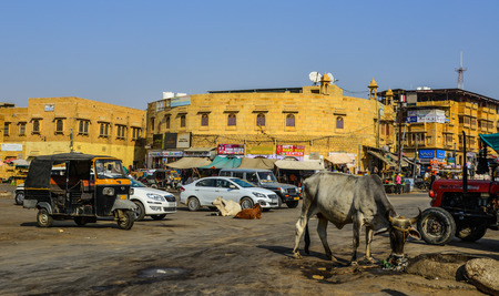 Jaisalmer, India - Nov 8, 2017. Local market in Jaisalmer, India. Jaisalmer is a former medieval trading center and a princely state in Rajasthan.
