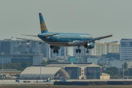 Saigon, Vietnam - Apr 23, 2019. Vietnam Airlines VN-A604 (Airbus A321) landing at Tan Son Nhat Airport (SGN).