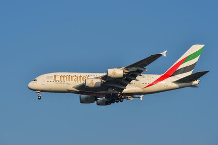 Kuala Lumpur, Malaysia - Apr 22, 2018. A6-EUC Emirates Airbus A380 landing at Kuala Lumpur International Airport (KLIA-KUL).