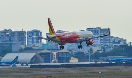 Saigon, Vietnam - Apr 23, 2019. An Airbus A321 airplane of Vietjet Air landing at Tan Son Nhat Airport (SGN).