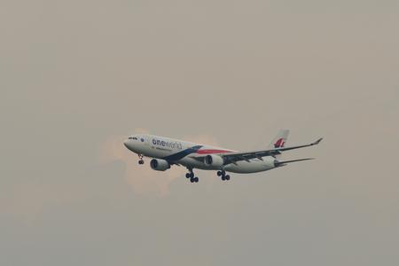Kuala Lumpur, Malaysia - Apr 22, 2018. Airbus A330-300 (OneWorld) Malaysia Airlines landing at Kuala Lumpur International Airport (KLIA-KUL). Redakční