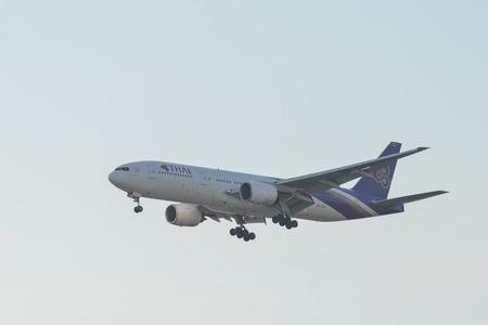 Kuala Lumpur, Malaysia - Apr 22, 2018. Thai Airways HS-TJS (Boeing 777-200ER) landing at Kuala Lumpur International Airport (KLIA-KUL).