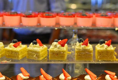Sweet table at luxury buffet restaurant. Food concept.