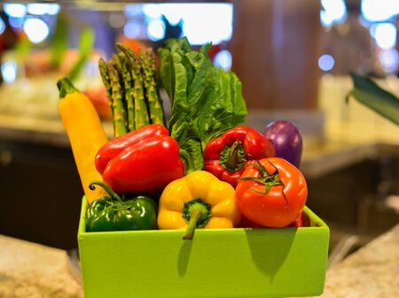 Organic healthy vegetables and fruits for decoration at luxury buffet restaurant.