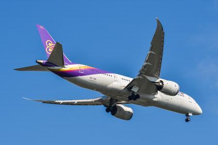 Bangkok, Thailand - Apr 21, 2018. B-LRR Cathay Pacific Airbus A350-900 landing at Bangkok Suvarnabhumi International Airport (BKK).