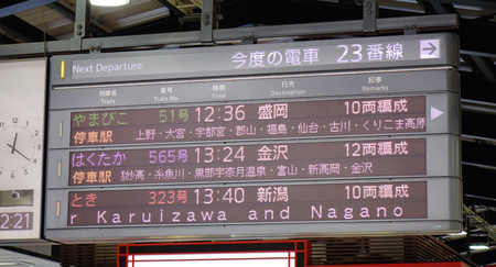 Tokyo, Japan - Apr 13, 2019. Electric information panel of Shinkansen train at JR Station in Tokyo, Japan. High speed trains (bullet trains) called Shinkansen.