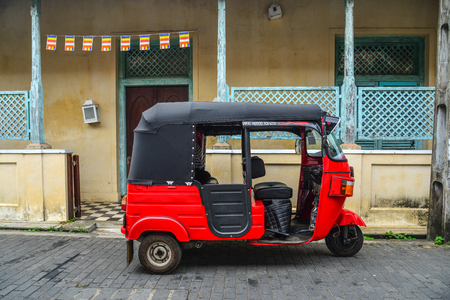 Galle, Sri Lanka - Dec 21, 2018. Tuk tuk taxi at old town in Galle, Sri Lanka. Galle was the main port on the island in the 16th century.