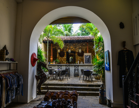 Galle, Sri Lanka - Dec 21, 2018. Vintage coffee shop at ancient township in Galle, Sri Lanka. Galle was the main port on the island in the 16th century. Editorial