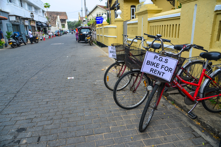 Galle, Sri Lanka - Dec 21, 2018. Bicycle rental in Fort Galle, Sri Lanka. Galle is a city on the southwest coast of Sri Lanka. Editorial
