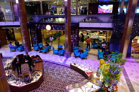 Shanghai, China - Jun 4, 2019. Interior of Spectrum of the Seas cruise ship by Royal Caribbean. The current homeport of cruise liner is Shanghai.