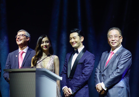 Shanghai, China - Jun 3, 2019. Famous Chinese movie star Huang Xiaoming and Angela Yeung Wing in the party on Spectrum of the Seas cruise ship. 에디토리얼