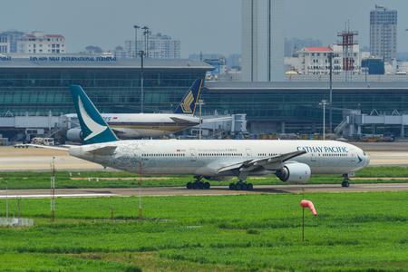 Saigon, Vietnam - Jun 8, 2019. B-HNK Cathay Pacific Boeing 777-300 (Spirit of Hong Kong) taxiing on runway of Tan Son Nhat Airport (SGN).