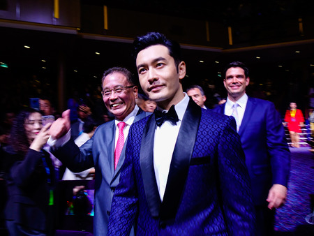 Shanghai, China - Jun 3, 2019. Famous Chinese movie star Huang Xiaoming coming to the party on Spectrum of the Seas cruise ship.