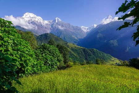 View of snow covered peak of Annapurna Massif in Nepal.