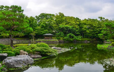 Idyllic landscape of Japanese garden at summer day. Stok Fotoğraf