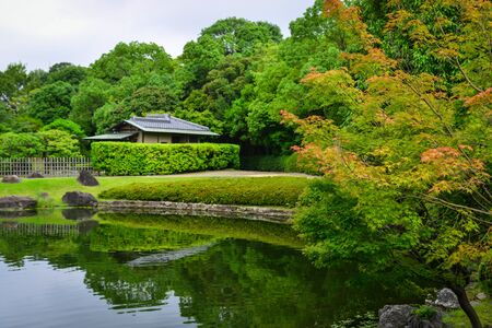 Idyllic landscape of Japanese garden at summer day. Imagens