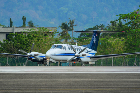 Langkawi, Malaysia - Mar 31, 2019. Royal Malaysian Police Beechcraft B300 King Air 350 (9M-PTA) taxiing on runway of Langkawi International Airport (LGK).