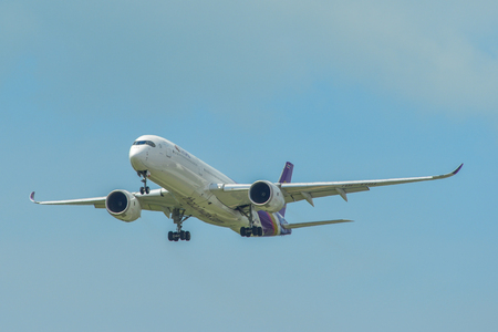 Singapore - Mar 26, 2019. Thai Airways HS-THH (A350-900) landing at Changi Airport (SIN). Changi hits record 65 million passengers in 2018.